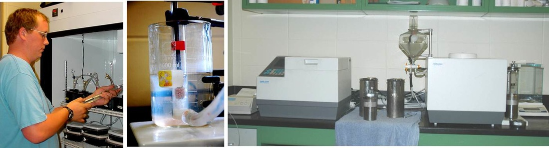 Images illustrating the measurement of metabolic rates, nutrient uptake rates, and our bomb calorimetry system to measure the energy content of organic matter.